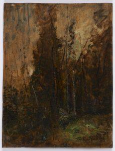 F.A.R.,, L'orée du bois. S.d. vers 1868. Huile sur panneau, 35x27 cm. Signé en bas à droite. Dessin au verso, (272), croquis arbres penchés sur la droite. Coll. part