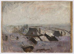 F.A.R., Les toits de Morestel sous la neige. S.d. vers 1878. Huile sur toile marouflée sur carton, 26x36 cm. Cachet de la signature en bas au milieu à droite. Coll. part.