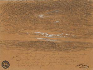 F.A.R., Vent du midi, s.d. vers 1865-75. Mine de plomb et craie blanche sur papier beige, 20x25 cm, Coll. part.
