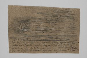 F.A.R., Vendredi Sinistre,  s.d. vers 1865-75. Mine de plomb et craie blanche sur papier chiffon gris, 13,5x19 cm, Coll. part. CBT