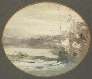 F.A.R., Paysage à Crémieu vu de Champrofond, s.d. vers 1865. Aquarelle et crayon, tondo, non signé, 30x33 cm. Coll. part.
