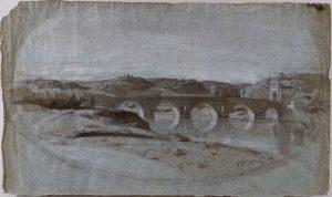 F.A. Ravier, Pont Milvius à Rome, lavis d'encre et gouache blanche  sur papier bleu, coll. CBT