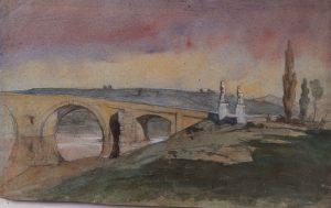 F.A. Ravier, Rome, Ponte Milvio, aquarelle, 29x45cm, coll. part.