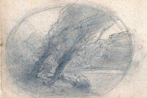 F.A.R., croquis d'arbres penchés dans un ovale
