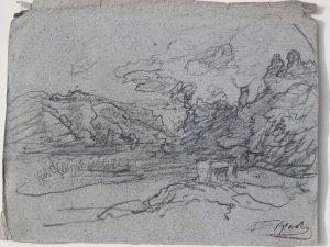 F.A.R., Bonde de l'étang de Roche , crayon sur papier gris,