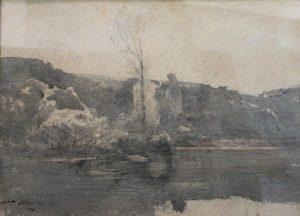 F.A.R., Etang de Roche, Morestel, crayon et lavis d'encre