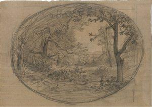 F.A.R., Paysage à Crémieu,  dessin 30X40cm