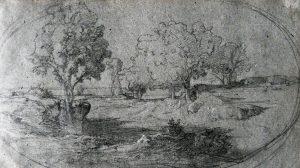 F.A.R., Paysage, crayon et plume, carnet croquis , 14x22cm