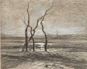 F.A.R., Morestel, effet de contre-jour, dessin au crayon fusain, craie blanche et plume 12x15 cm,