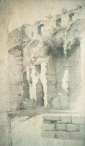 Ravier à Rome, Le Colisée, dessin 39x23 cm, coll. part