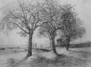 F.A.R., autour de Morestel, crayon mine sur papier, 17x25cm, sbd, coll. part.