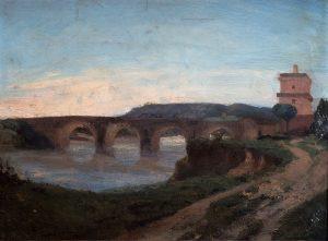 F.A. Ravier Rome, Ponte Milvius_hsp, 31x42, anc. Coll. Charbonneaux